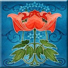 Art Nouveau Reproduction Ceramic Decorative Wall tile 4.25 X 4.25 inches #7 in Home & Garden, Home Décor, Tile Art | eBay
