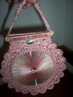 bolsas crochet | Bolsa crochet con Cd's !Hermosa!
