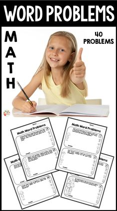 This resources includes 40 math word problems that are perfect for practice. Addition and subtraction problems are included. First Grade, Second Grade, Primary Classroom, Classroom Ideas, Math Words, Math Word Problems, Teaching French, Addition And Subtraction, Educational Activities