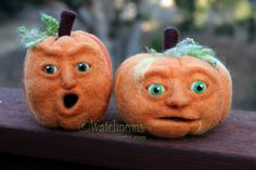 "Jack O Lantern Needle Felted Wool Pumpkin Face 5"" Orange Fall Felt with a Face Halloween Thanksgiving OOAK. $50.00, via Etsy."