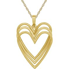 Infinite Gold™ 14K Yellow Gold Triple-Heart Pendant Necklace (4,650 MXN) ❤ liked on Polyvore featuring jewelry, necklaces, hearts, pendants & necklaces, heart pendant necklace, heart pendant, 14k gold pendant and heart necklace