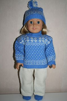 Ravelry: American Girl winter outfit pattern by Astrid Aesoey Doll Patterns, Clothing Patterns, Knitting Patterns, American Girl, Girls Winter Outfits, Knitted Dolls, Knit Or Crochet, Pullover, Girl Dolls