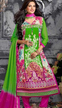 Indian Designer Green Georgette Churidar Kameez Party Wear Dresses,