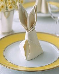 folding table napkin - rabbit