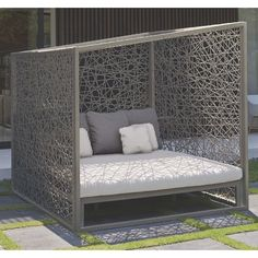 The Geometric wicker outdoor day bed is perfect for the patio, deck or outdoor room. Outdoor Daybed, Outdoor Rooms, Skyline Design, Open Weave, Contemporary Furniture, Sofas, Mattress, Wicker, Cushions