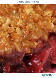 This page contains cherry crisp recipes. Sweet or tart cherries, covered with a delicious oatmeal crunch topping, with or without nuts, that is cherry crisp.