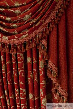 Louis XVI Royal Red - Classic Overlapping Style chenille embroidery swag valance curtain set  http://www.celuce.com/p/52/louis-xvi-royal-red-swag-valances-curtain-draperies