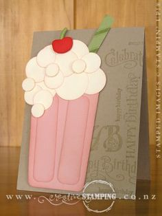 Milkshake Birthday Card... already mastered the frothy beer mug card so this should be a cinch!
