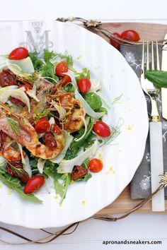 Insalata di gamberetti alla griglia con pomodori e finocchio essiccati al sole e Parco degli Acquedotti e Tor Fiscale di Roma