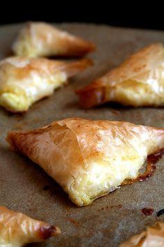 ✔Tiropitas (cheese pies) - Refrigerated 3 Eggs Baking & Spices 1/2 lb Filo dough 1/2 tsp Salt Dairy 1/2 lb Butter 1/2 lb Cottage cheese 1/2 lb Feta cheese