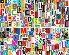 MultiColor Set 3 Printable Digital Alphabet, A to Z, Magazine Letters, Collage Letters, Ransom Note