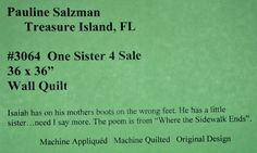 Funny+Poems+About+Quilting   One Sister 4 Sale by Pauline Salzman