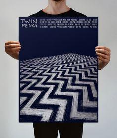 """Twin Peaks"" An art tribute poster created for Spoke Art's David Lynch Tribute Art Show - New York, April 2017. Silver metallic scree..."