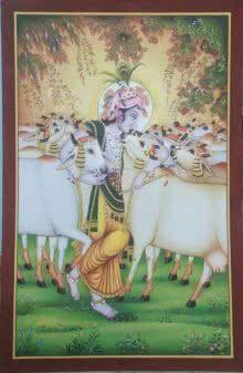 Gopastami painting by Rajendra Khanna | ArtZolo.com