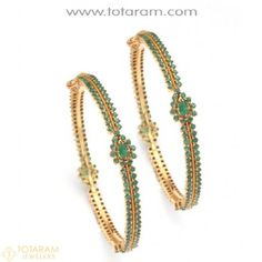 22K Gold bangles with Emeralds - 1 Pair - 235-GEBL106 - Buy this Latest Indian Gold Jewelry Design in 52.600 Grams for a low price of $3,329.39