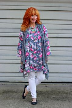 Floral tunic, lace vest, white skinny jeans