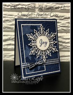 Do you LOVE the look of Navy, White and Silver? Then you're going to love th… Do you LOVE the look of Navy, White and Silver? Then you're going to love this card created with the Snow is Glisteing stamp set & Snowfall Thinlits. Christmas Cards 2018, Homemade Christmas Cards, Xmas Cards, Homemade Cards, Handmade Christmas, Holiday Cards, Christmas 2019, Christmas Tables, Christmas Cactus