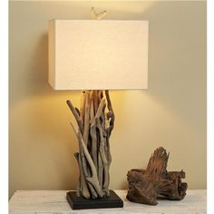 Driftwood Cluster Table Lamp:This eco-friendly real driftwood twig table lamp adds natural rustic style to your home. Natural Table Lamps, Rustic Table Lamps, Driftwood Chandelier, Driftwood Table, Table Lamp Shades, Room Lamp, Unique Lamps, Lamp Design, Black Wood