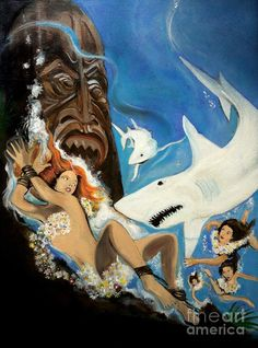 Shark Reef Painting - Shark Reef Fine Art Print - reminds me of an old pulp novel cover!