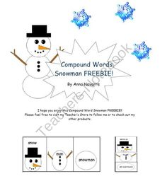 Compound Words Snowman FREEBIE! from Mrs. Navarres Shop on TeachersNotebook.com -  (5 pages)
