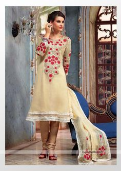 Beautiful cream shade salwar kameez designed with embroidery. Heavy neck pattern and sleeves gives it rich look. It will look good for semi-formal parties. http://goodbells.com/salwar-suits/cream-salwar-kameez-with-embroidery.html