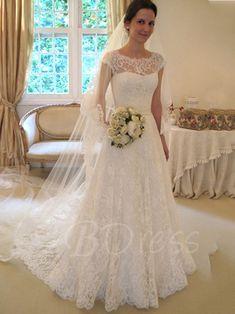Floor-Length A-Line Cap Sleeves Court Lace Wedding Dress