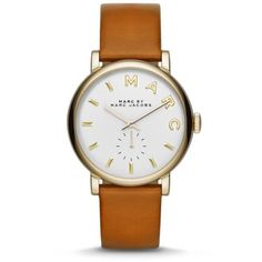 Marc Jacobs Brown Womens Baker Brown Leather Three Hand Watch ($195) ❤ liked on Polyvore featuring jewelry, watches, brown, leather wrist watch, leather strap watches, brown jewelry, white dial watches and marc jacobs jewellery