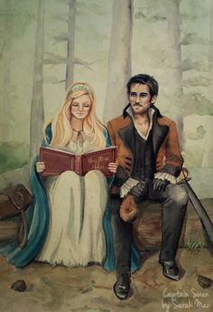 The Enchanted Forest Once upon a Time illustration. Captain Hook and Emma Swan, missing moment art.