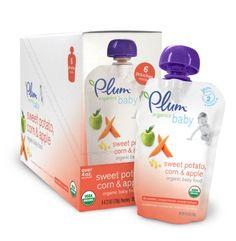Plum Organics Baby Food, Sweet Potato, Corn & Apple, 4.22-Ounce Pouches (Pack of 24) $31.16