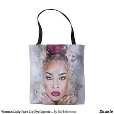 Our Woman tote bags are great for carrying around your school & office work, or other shopping purchases. Lady Face, Woman Face, Reusable Tote Bags, Lipstick, Paint, Eyes, Women, Lipsticks, Picture Wall