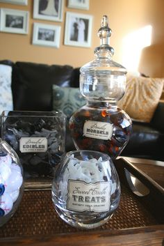 apothecary jars as candy bowls! <3