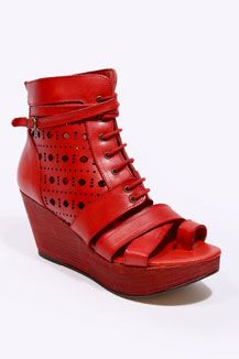Miista Red Lace-Up Strap Wedges