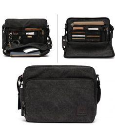 3638cd882ec7 Men Canvas Messenger Bag with Multi Pockets - Black - CG121QP6CGZ  Bags   handbags