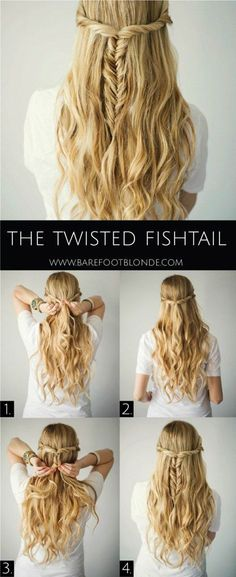 Half Up Half Down Hairstyles: Twisted Fishtail.