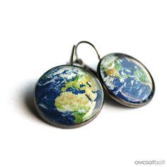 Me:Planet Earth earrings, Globe earrings, French clip earring, Leverback earring