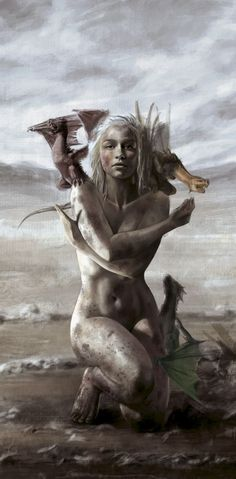 """megarah-moon: """"Daenerys Stormborn - Mother of Dragons"""" by Catherine O'Connor """"As Daenerys Targaryen rose to her feet, her black hissed, pale smoke venting from its mouth and nostrils. The other two pulled away from her breasts and added their voices to the call, translucent wings unfolding and stirring the air, and for the first time in hundreds of years, the night came alive with the music of dragons."""" ― George R.R. Martin, A Game of Thrones"""