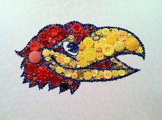 Rock Chalk Jayhawk Button & Swarovski Art by BellePapiers on Etsy, $84.00