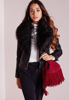 Get that edgy look with this kickass top coat. With layering season coming this leather look biker jacket with gold zips and faux fur neck features is totally off the hook and will ensure all eyes are on you. Style with some skinny jeans an...