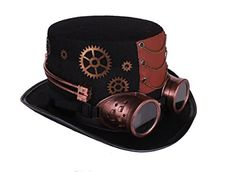 Amazon.com  Arsimus Large Steampunk Hat with Goggles   Gears Burning Man  Victorian Top Hat  Clothing 41931dedb1ca