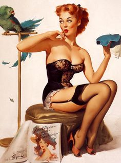 Just sitting around... (the pin up played up that innocent-tart just sitting around looking sexy but not meaning to thing to the hilt!)