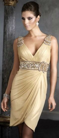 Beautiful....Gold!! A gorgeous evening dress. Id wear my hair in an elegant up~do , and wear very slim/sexy heels and carry a sleek/silky clutch!