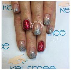 Silver glitter fading with one red glitter nail