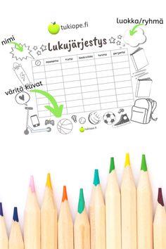 Tulostettava lukujärjestyspohja. Kivat puhekuplat nimelle ja luokalle/ryhmälle sekä väritettävät kuvat. Mukavaa puuhaa ensimmäisiin koulupäiviin.