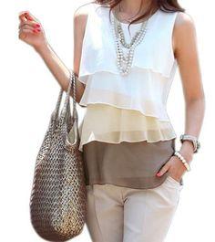 Blusa importada estilo multi camadas, blusa em poliester chiffon, tendencia da moda casual internacional. Blusa importada com preço especial em promoção. Porque ESTILO IMPORTA. Preço baixo sem perder o estilo.