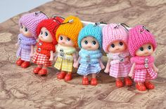 1Pcs 8CM Height Colorful Kawaii Mini Plush Dolls With Kilt Hat Phone Hanging Straps For