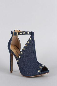 Shoe Republic Blue Denim Studded Peep Toe Women's High Heels Sandal