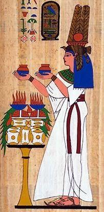 Ancient Egyptian Fabrics and Clothing: kalasiris, falcon head dress, wesekh necklace.