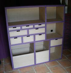 Meuble en carton rangement loisirs créatifs 120/130/35 cm www.mobilier-carton-sur-mesure.com