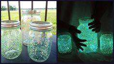 This is actually a really cool craft to do, and easy. Just go to any crafting store (i.e. Michaels) and get some glow in the dark paint. Find yourself some mason jars and just dot the inside with paint. Leave it outside in the sun for the day and boom, lighting bug jar!