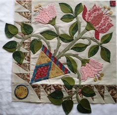 Detail from Block 4 of Heart's Desire applique quilt by Esther Aliu.